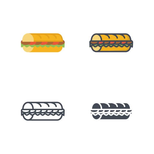 sub sandwich fastfood vektor icon flache linie silhouette farbig - lachskuchen stock-grafiken, -clipart, -cartoons und -symbole