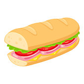 istock Sub sandwich illustration 1153262021
