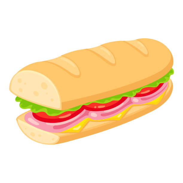 sub sandwich illustration - sub sandwich stock illustrations, clip art, cartoons, & icons