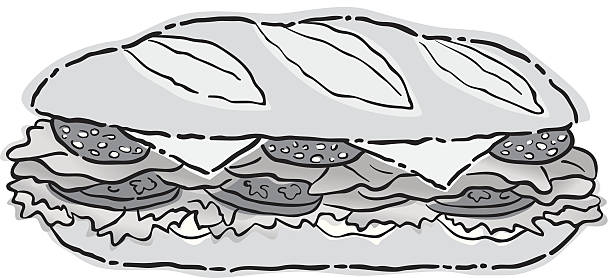 sub sandwich2 - sub sandwich stock illustrations, clip art, cartoons, & icons