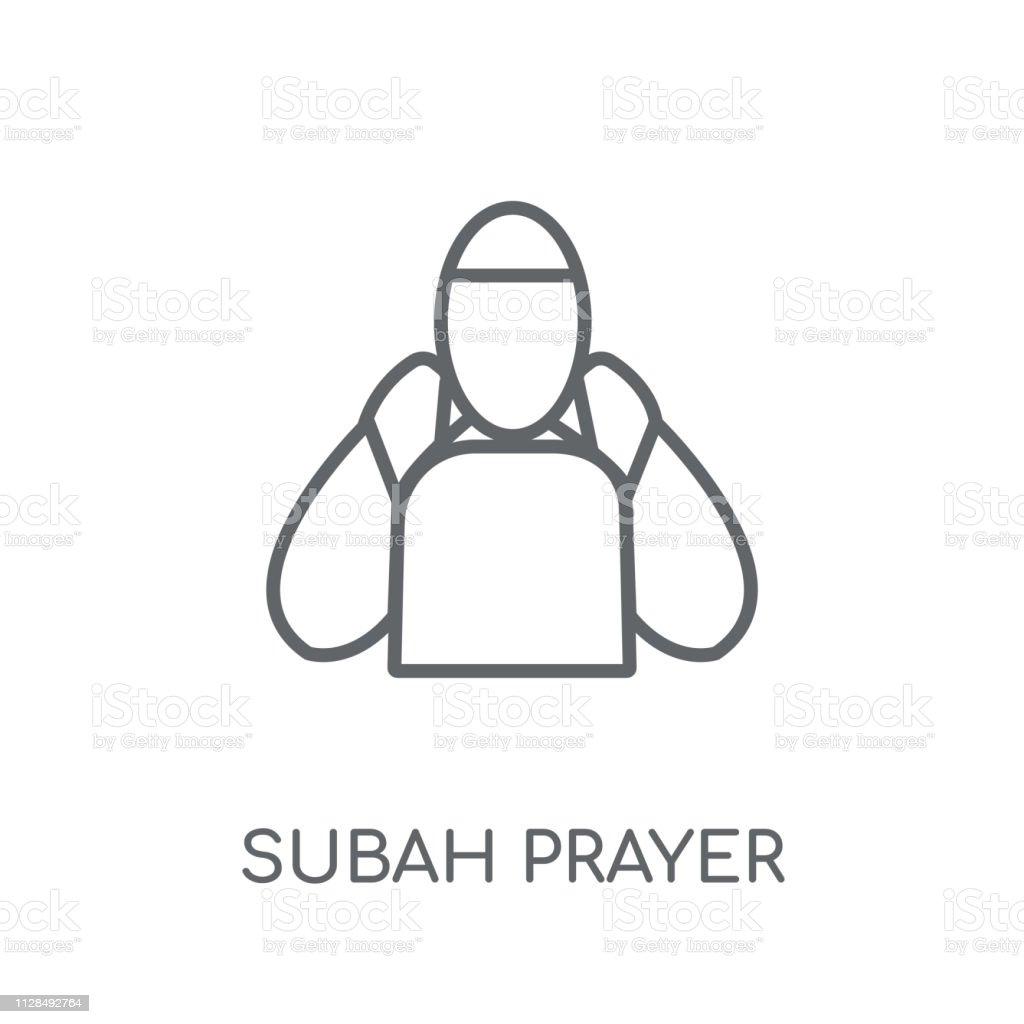 Subah Prayer Linear Icon Modern Outline Subah Prayer Logo Concept On