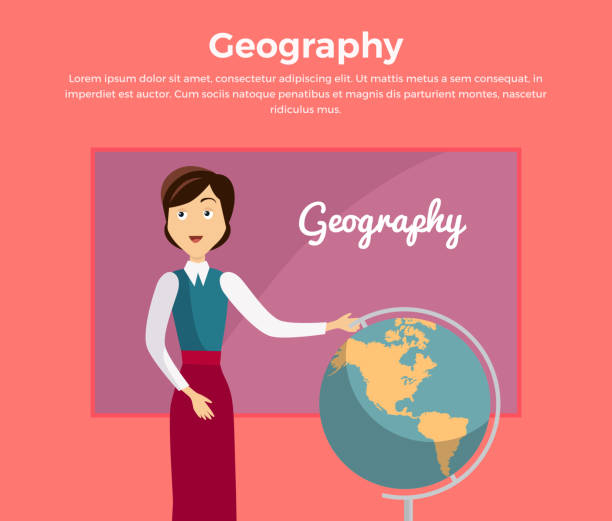 ilustrações de stock, clip art, desenhos animados e ícones de subject of geography education conceptual banner - teacher school solo
