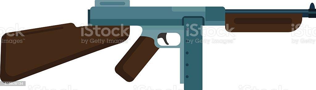 短機関銃アイコンの色シルエットベクトルイラストレーション機武器 ベクターアートイラスト