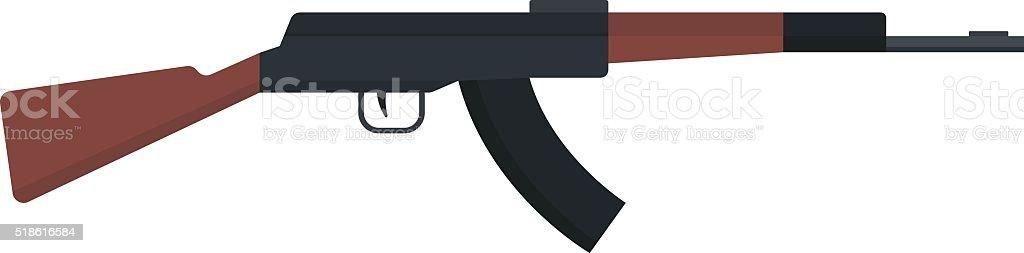 短機関銃アイコンカラシニコフまたは AK -47 色のシルエットベクトル ベクターアートイラスト