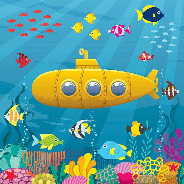 bildbanksillustrationer, clip art samt tecknat material och ikoner med submarine background - i havet