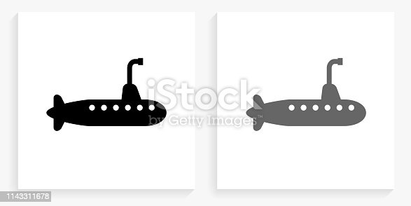 Submarine Black and White Square Icon. This 100% royalty free vector illustration is featuring the square button with a drop shadow and the main icon is depicted in black and in grey for a roll-over effect.