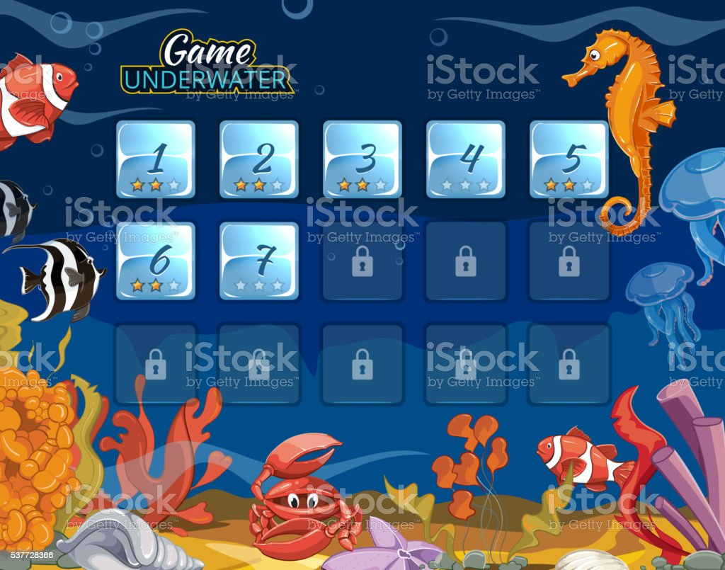 Submarine computer game with user interface vector art illustration