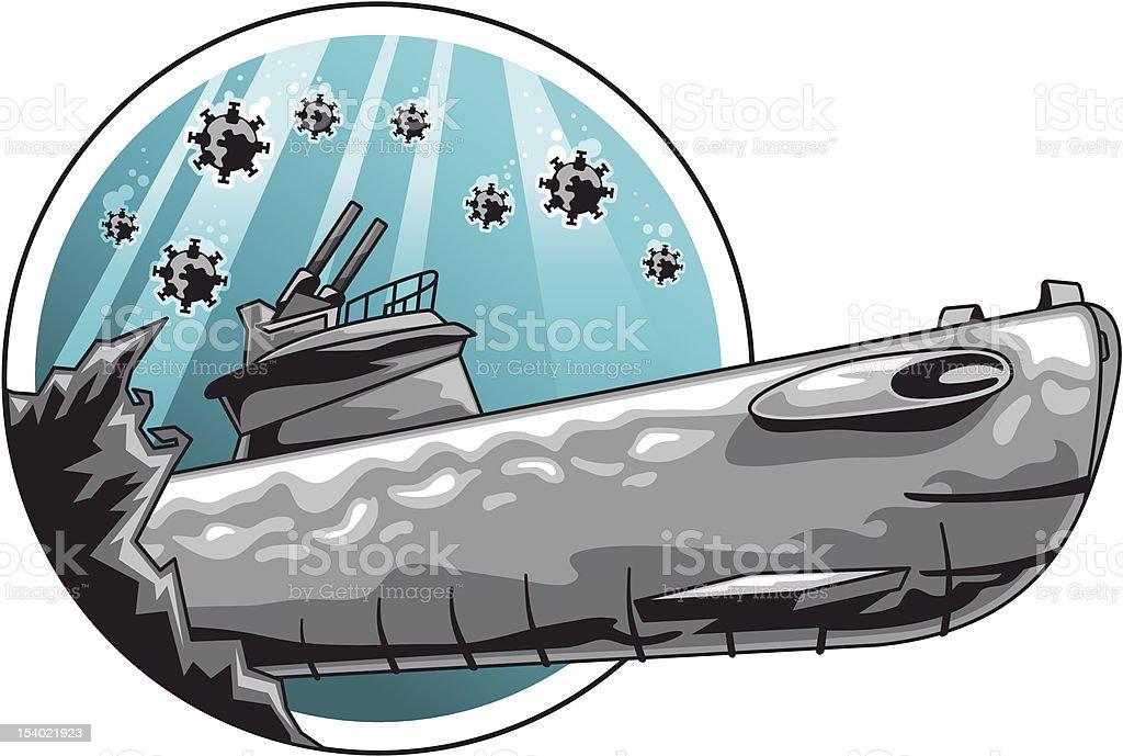 Submarine diving in mine field (vector) vector art illustration