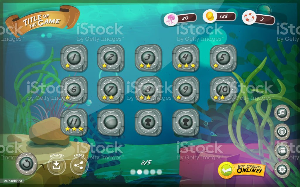 Submarine Game User Interface For Tablet vector art illustration