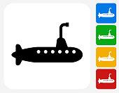 Submarine Icon Flat Graphic Design