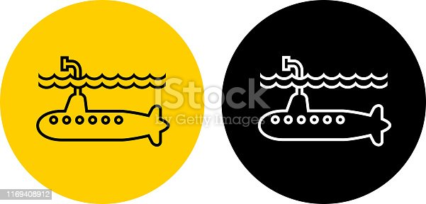 Submarine Icon. This 100% royalty free vector illustration is featuring a round button in yellow with the main icon depicted in black. There is an alternative black and white version on the right.
