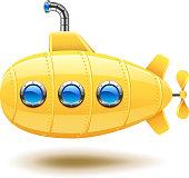 Submarine isolated on white vector