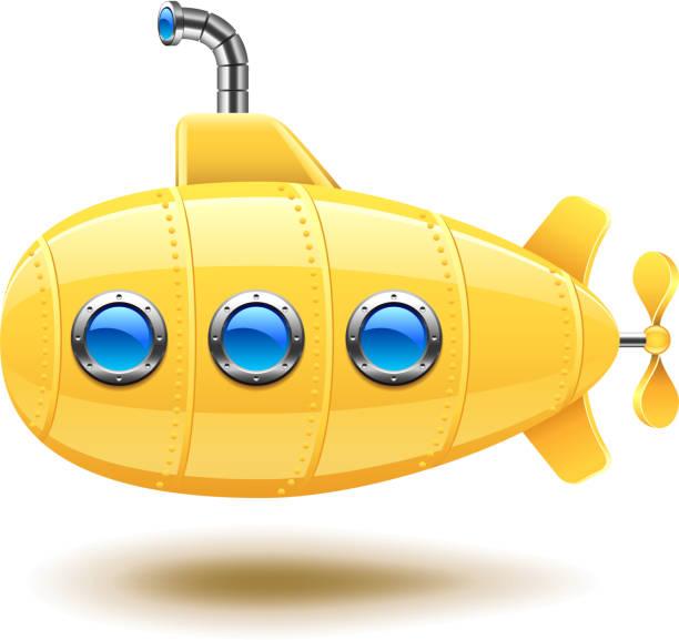 illustrations, cliparts, dessins animés et icônes de sous-marin isolé sur blanc vector - sous marin