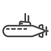 Submarine line icon, nautical concept, underwater boat sign on white background, Submarine with periscope icon in outline style for mobile concept and web design. Vector graphics