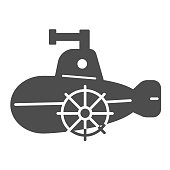 Submarine model solid icon, Kids toys concept, cheerful submarine sign on white background, sub boat toy icon in glyph style for mobile concept and web design. Vector graphics