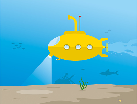 Submarine researching bottom of the sea