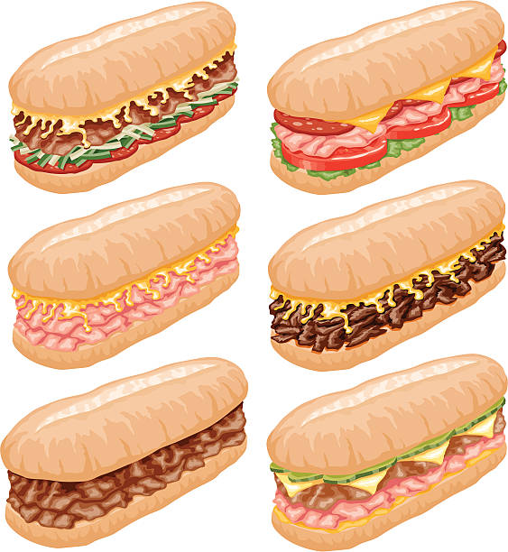 submarine sandwich icon set - sub sandwich stock illustrations, clip art, cartoons, & icons