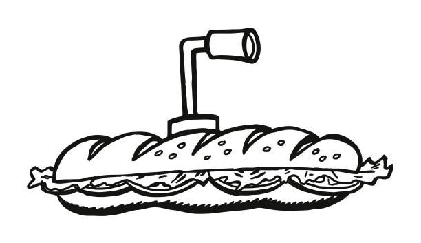 submarine sandwich with periscope - sub sandwich stock illustrations, clip art, cartoons, & icons