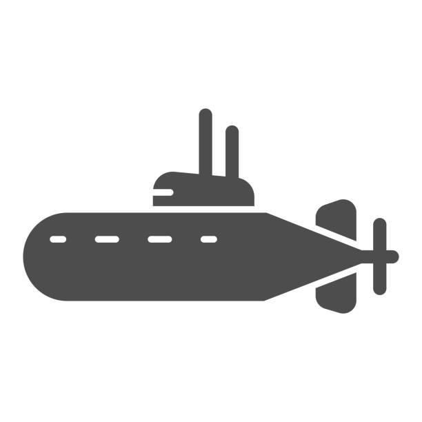 stockillustraties, clipart, cartoons en iconen met onderzees stevig pictogram, nautisch concept, onderwater bootteken op witte achtergrond, onderzeeër met periscooppictogram in glyph stijl voor mobiel concept en webontwerp. vectorafbeeldingen. - ocean under water