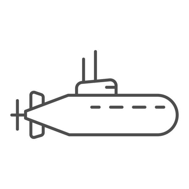 stockillustraties, clipart, cartoons en iconen met het dunne lijnpictogram van de onderzeeër, nautisch concept, onderwater bootteken op witte achtergrond, onderzeeër met periscooppictogram in overzichtsstijl voor mobiel concept en webontwerp. vectorafbeeldingen. - ocean under water