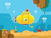 Submarine Under Water Flat Illustration
