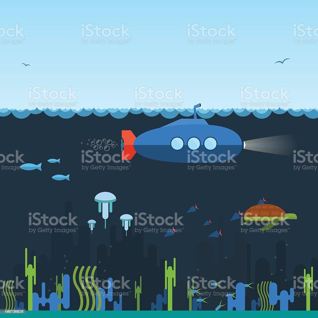 Submarine vector art illustration