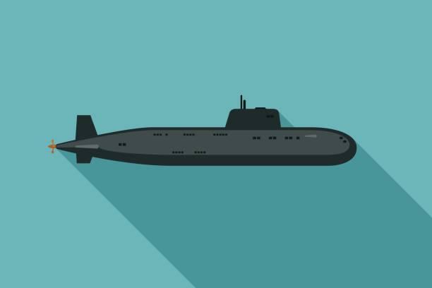 illustrations, cliparts, dessins animés et icônes de sous-marin avec ombre portée - sous marin