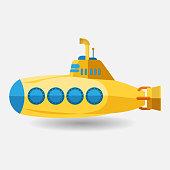 submarine with periscope, flat design. Vector