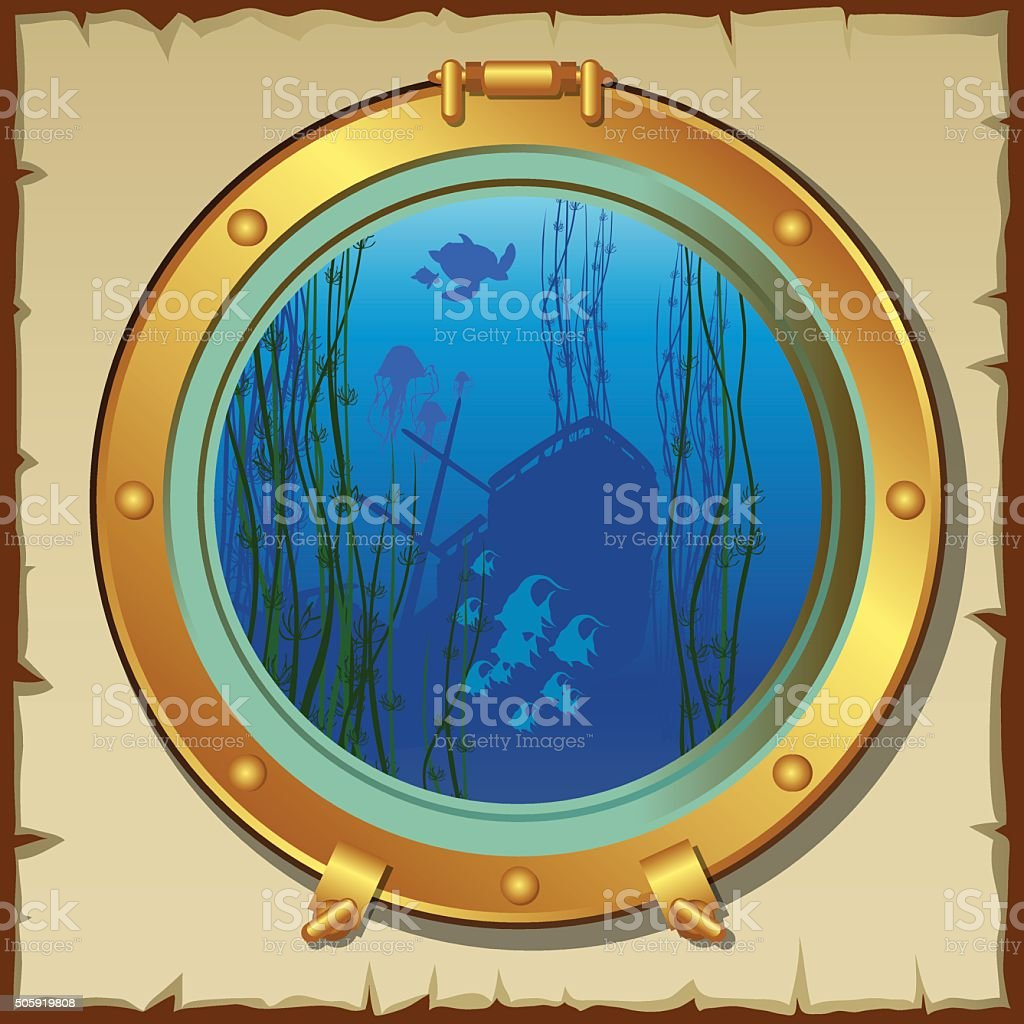 Submarines porthole with view of the underwater landscape vector art illustration
