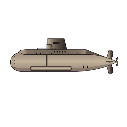 Submerged Submarine Exploration Equipment Machine Vehicle. Colorful for coloring page, preschool children first word book.