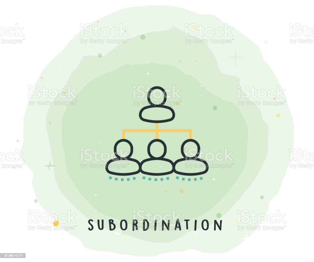 Subordination Icon with Watercolor Patch vector art illustration