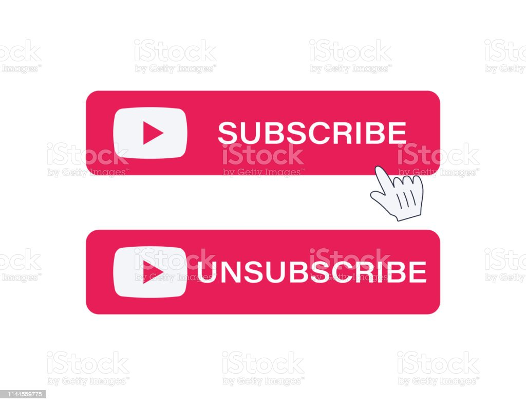 Subscribe and Unsubscribe button. Red button sign in social media and hand cursor with shadow. Vector illustration. Web element ui.