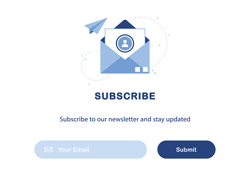 Banner illustration of email marketing. Subscription to newsletter, news, offers, promotions. A letter in an envelope. Template. Send by mail. Subscribe, submit. Blue and White. Eps 10