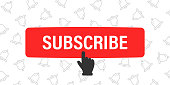 Subscribe button and hand cursor with bells on background. Red button subscribe to channel, blog. Social media background. Marketing advertising. Vector illustration