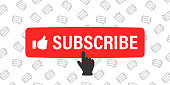 Subscribe button and hand cursor with message icons on background. Red button subscribe to channel, blog. Social media background. Marketing advertising. Vector illustration