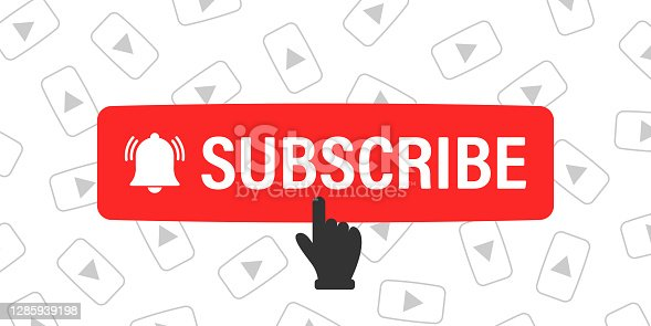 Subscribe button and hand cursor with play icons on background. Red button subscribe to channel, blog. Social media background. Marketing advertising. Vector illustration
