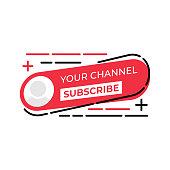 Subscribe button icon for social media. Subscribe icon button Vector illustration design template. Subscribe icon or button for video channel, blog, social media and background banner