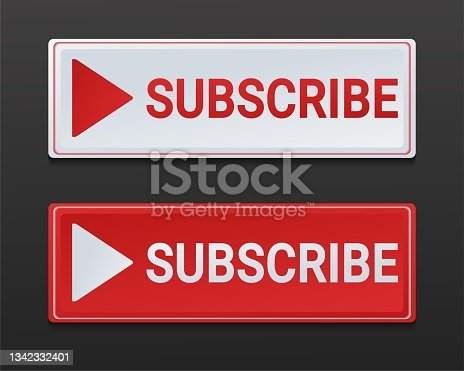 istock Subscribe button. Red and white subscribe button box to channel, blog. 1342332401