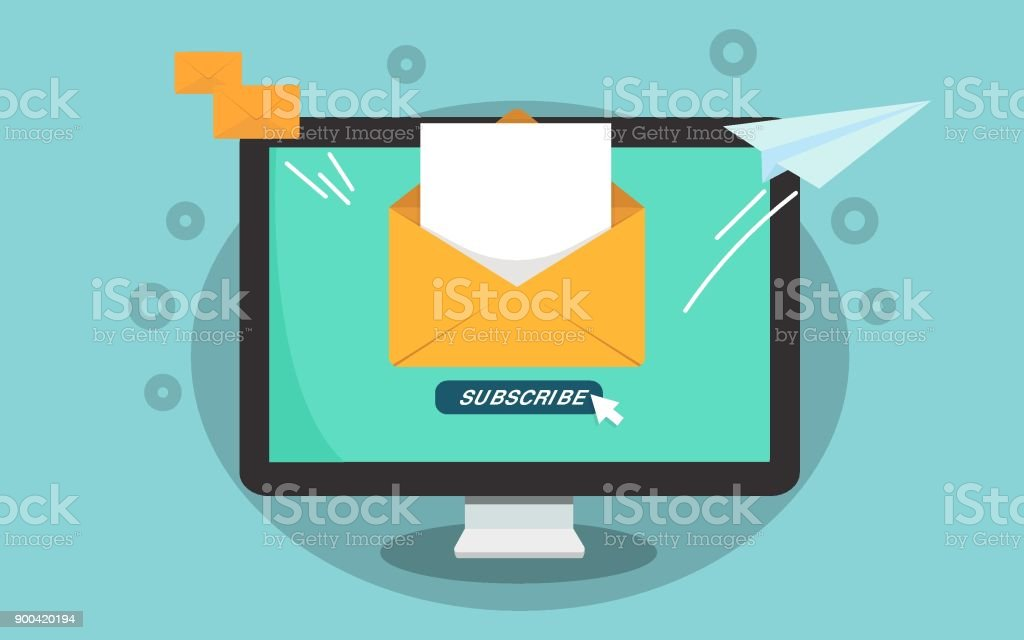 Subscribe for newsletter concept. Subscribe button with cursor on the computer screen. Open message with document. Paper airplane icon. vector art illustration