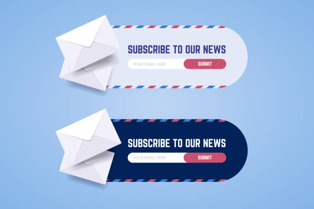 illustrazioni stock, clip art, cartoni animati e icone di tendenza di subscribe to newsletter form for web and mobile applications in two styles with envelopes. - newsletter