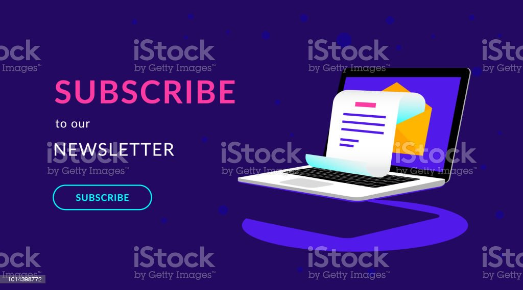 Subscribe to our weekly newsletter flat vector neon illustration vector art illustration