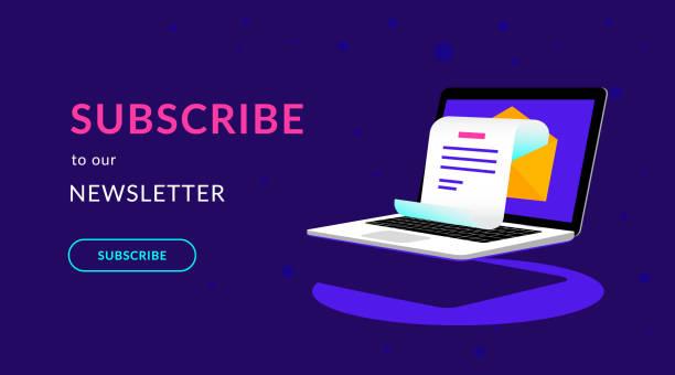 illustrazioni stock, clip art, cartoni animati e icone di tendenza di subscribe to our weekly newsletter flat vector neon illustration - newsletter