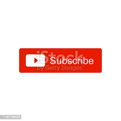 Subscribe video channel button icon. Vector illustration. Isolated on white background