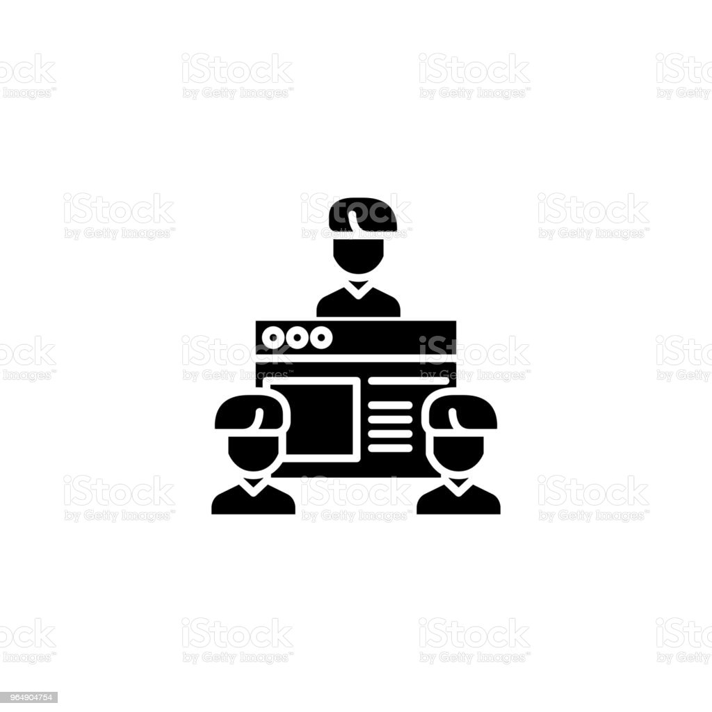 Subscribers black icon concept. Subscribers flat  vector symbol, sign, illustration. royalty-free subscribers black icon concept subscribers flat vector symbol sign illustration stock vector art & more images of agreement