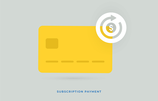 Subscription payment modern flat vector icon. Monthly subscription basis fee concept with credit bank card. Recurring payment icon with an arrow showing regularity of payments from the card.