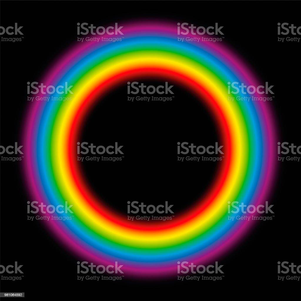 Feinstoffliche Körper Kreisen. Leuchtenden Regenbogen Farbverlauf Aura Ring. Vektor-Illustration auf schwarzem Hintergrund. – Vektorgrafik