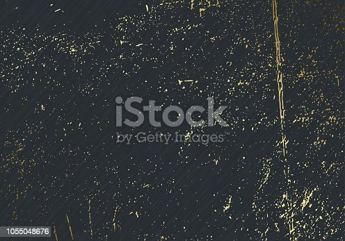 Subtle dark grey vector texture overlay. Abstract gold splattered glamour background. Dotted grain golden grunge backdrop. Festive christmas luxury backdrop.