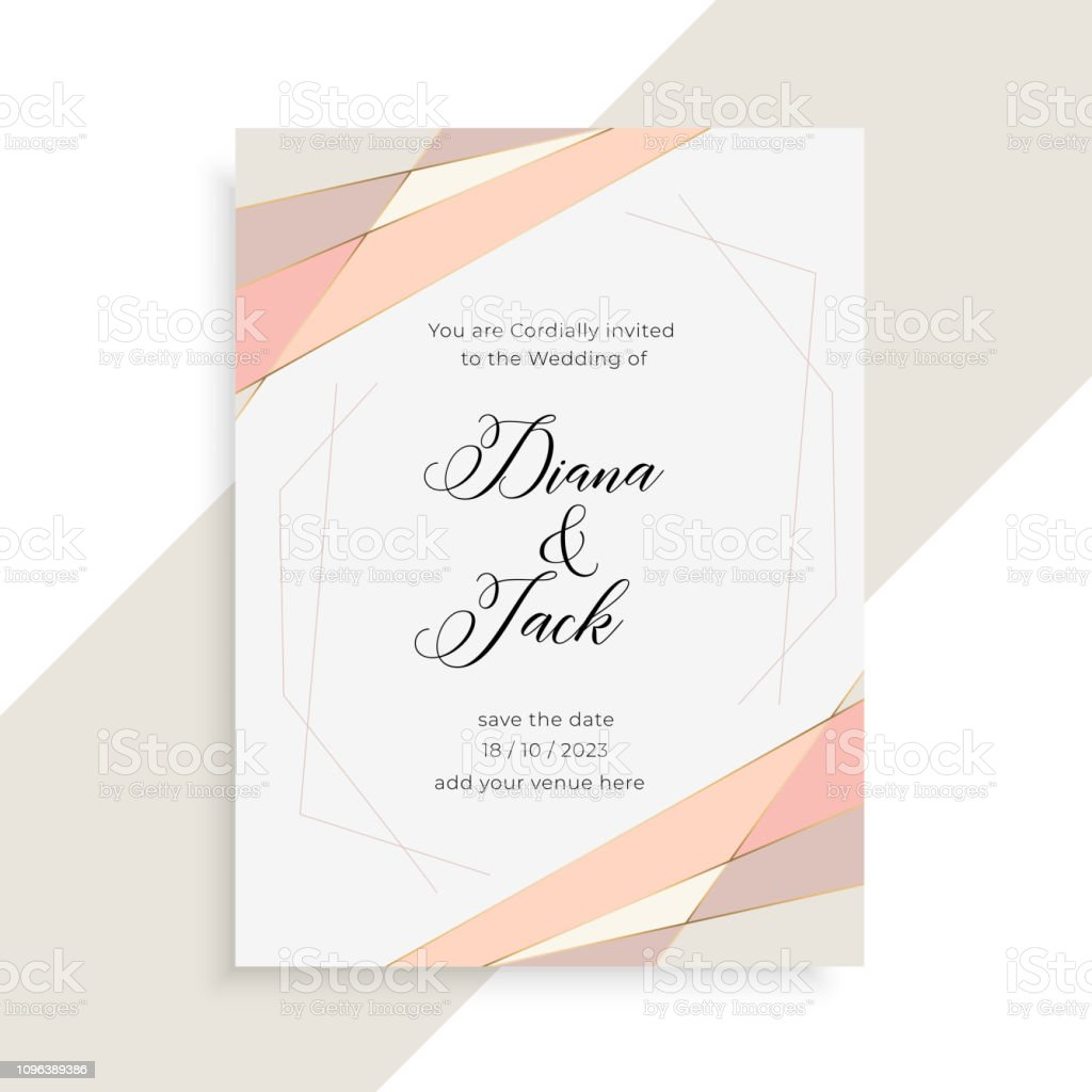 Subtle Elegant Wedding Invitation Card Design Stock Illustration - Download  Image Now - iStock
