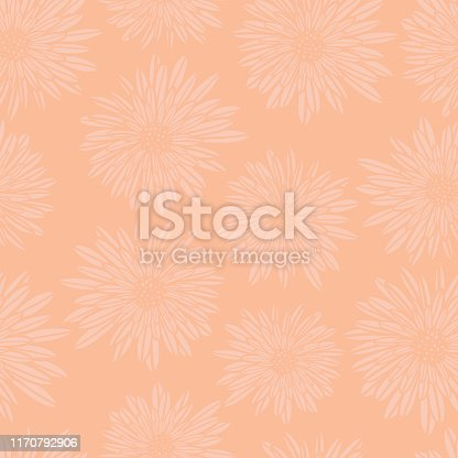 Subtle floral background. Coral pink Aster Dahlia Flowers seamless vector pattern. Hand drawn contemporary feminine art for summer, spring, fabric, paper, home decor, web banner, cards, page fill.
