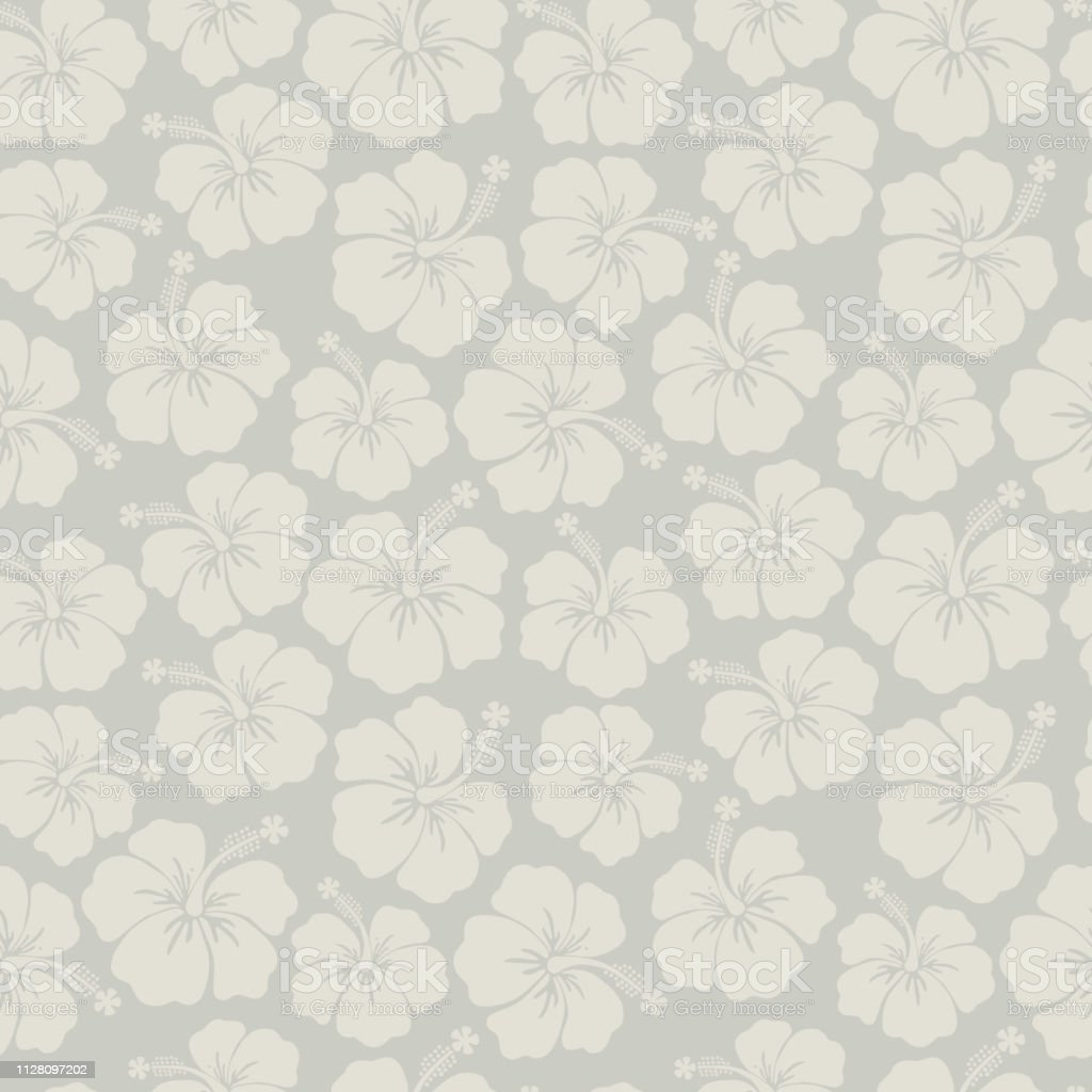 Subtle Floral Background Gray Hibiscus Flowers Seamless Vector